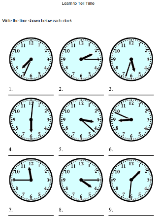 Learning Clock Worksheets #4
