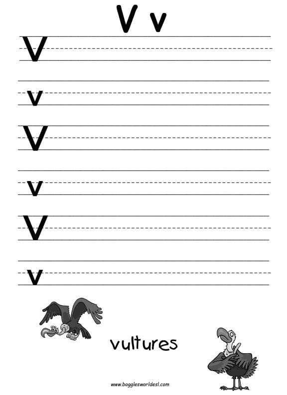 Letter V Worksheets For Kindergarten #1