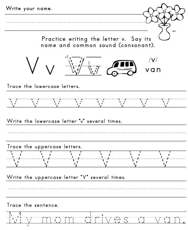 Letter V Worksheets For Kindergarten #2