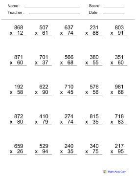 Math Facts Worksheets 4th Grade #4
