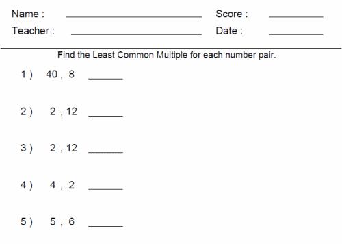 Math Worksheets Grade 6 #2