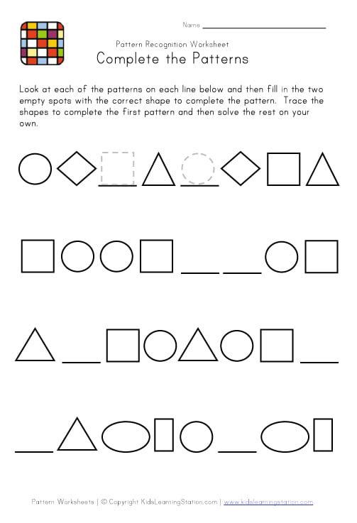 Math Worksheets On Patterns #1