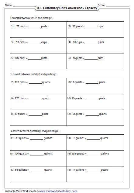 Measurement Conversion Worksheets #1