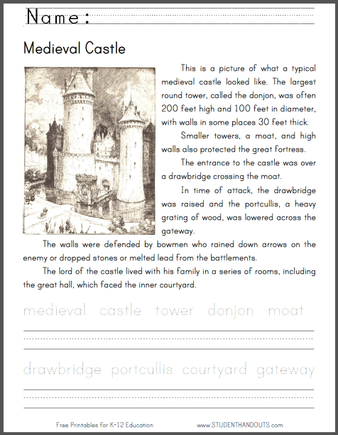 Medieval Castle Worksheets #1