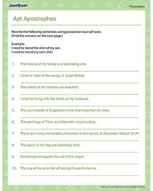 Punctuation Worksheets 6th Grade #3