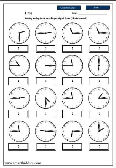 Reading Clock Worksheets #3