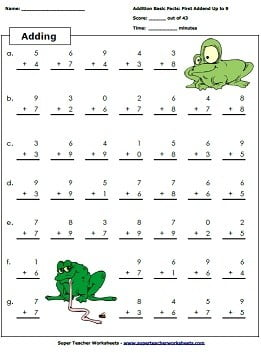 Simple Addition Math Worksheets #2