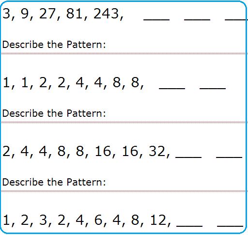 Simple Number Pattern Worksheets #1