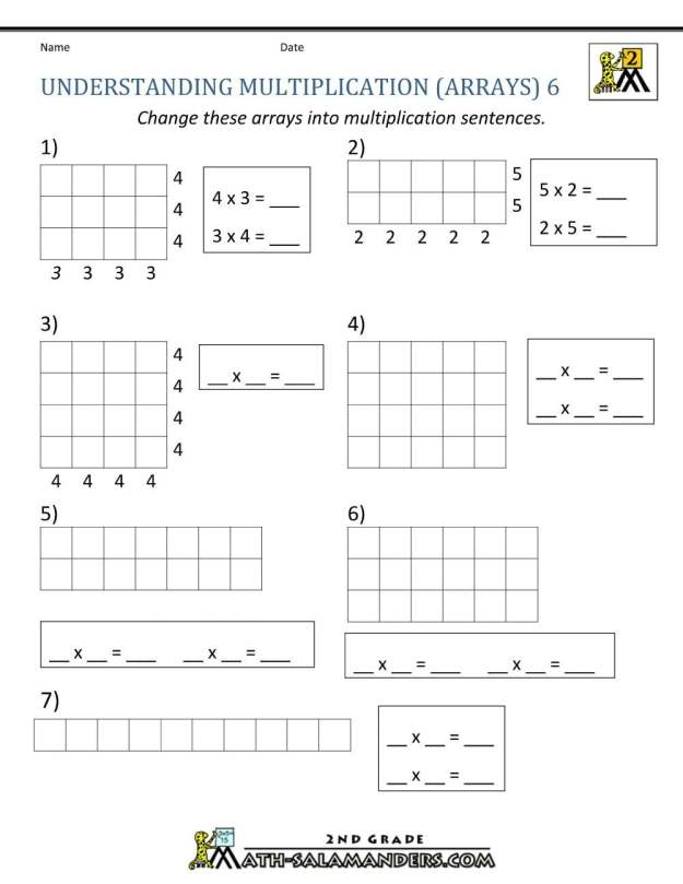 Multiplication Arrays Worksheets Year 2