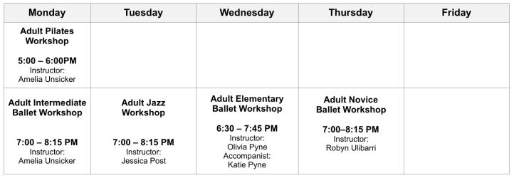 West Linn Fall 2019 Adult Classes Grid