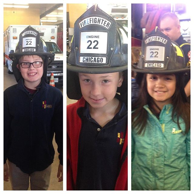 Fourth grade students at fire station 22.