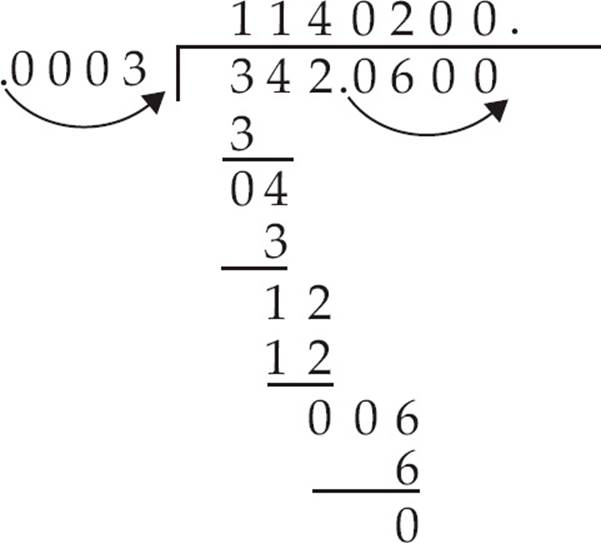Here's another example: 1.175 ÷ 0.05. Move the decimal