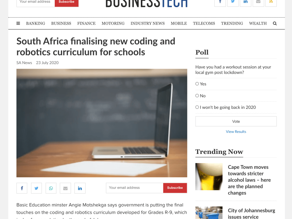 South Africa finalizing new Coding and Robotics Curriculum for Schools