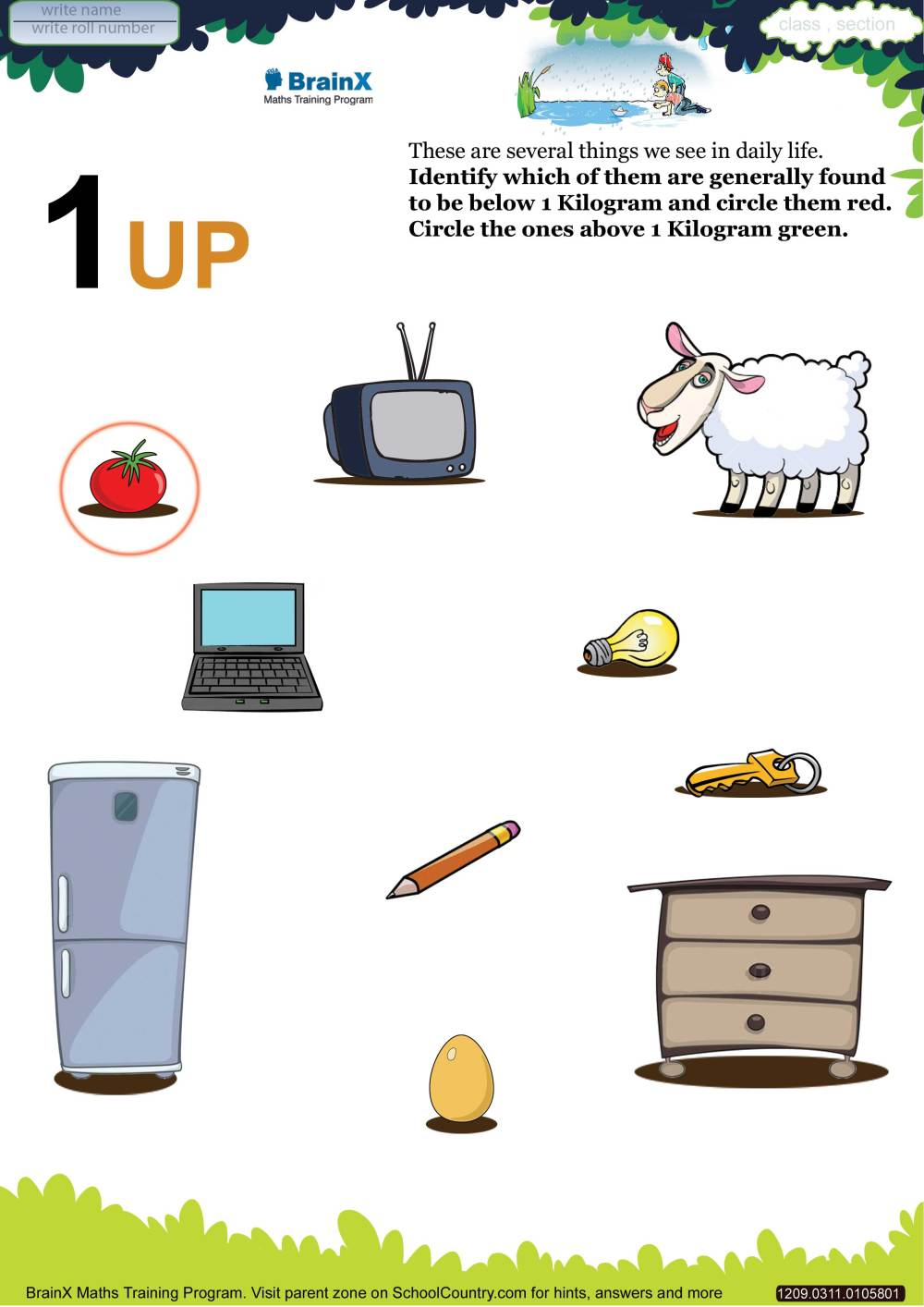 medium resolution of Printable Weight Math Olympiad Worksheets for kids of Grade 3 - 1up