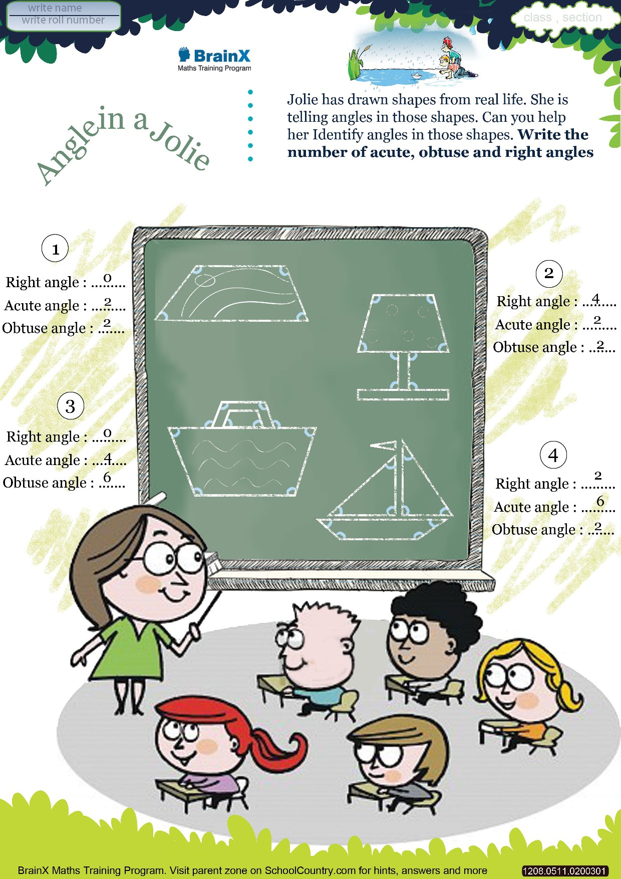 hight resolution of Printable Geometry Math Olympiad Worksheets for kids of Grade 5 - Angle -in-a-Jolie