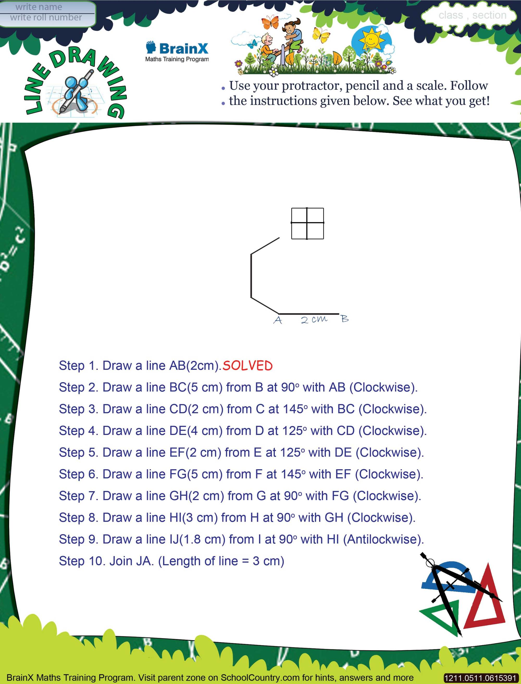 hight resolution of Printable Geometry Math Olympiad Worksheets for kids of Grade 5 - Line  Drawing