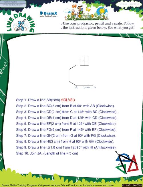 small resolution of Printable Geometry Math Olympiad Worksheets for kids of Grade 5 - Line  Drawing