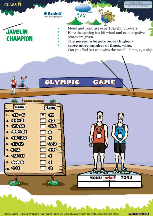 small resolution of Printable Numbers Math Olympiad Worksheets for kids of Grade 6 - Javelin  champion