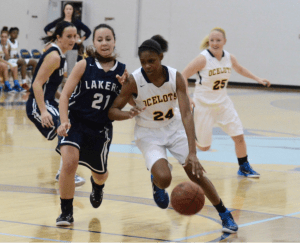 Freshman forward T'era Nesbitt drives towards the basket for two of her 25 points against Mid Michigan on Dec. 3. Photo by Margaret Shaw, Staff Photographer.