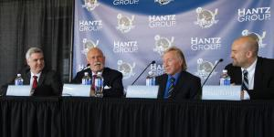 PHOTO BY NATHAN GARTNER PHOTO EDITOR (From left) Mike Vellucci, Peter Karmanos Jr., Rolf Nilsen and Costa Papista answer questions from the media on Jan. 14 following the announcement that the Plymouth Whalers franchise had been sold by Karmanos to Nilsen, who intends to move the team to Flint following the 2014 15 season.