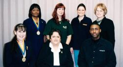 In 2002, Phi Theta Kappa was made up of (left to right back) Anna Morgan, Stacey Whipple, unknown and advisor Sherry Springer. (left to right front) Josie Boore, Carolyn Verla and unknown.