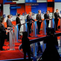 Image from time.com  Republican primary candidates go head-to-head on stage at the CNN debate.