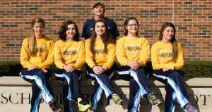 PHOTOS BY JAKE MULKA | PHOTO EDITOR The 2015 Schoolcraft Women's Cross-Country team, starting from left to right: freshman Chelsea Kovacs, freshman Caitlin Goyer, sophomore Audrey Baetz, sophomore Grace Doolittle & freshman Lindsey Gallagher