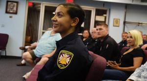 Mona Markabani looking eager and excited at her swearing in ceremony to the Lincoln Park Fire Department on July 16.