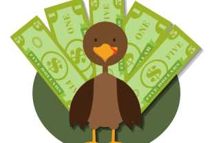 A turkey illustration with money for feathers.