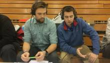 Schoolcraft Broadcasting Club members (left to right) Cameron Gwinn and James Paxson provides live audio play by play at a recent Schoolcraft basketball game. (Photo by Atticus Laird, Photo Editor)