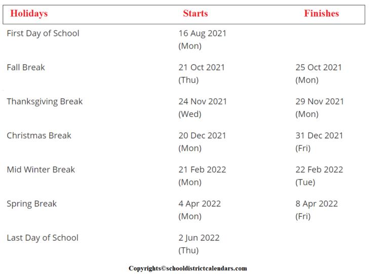 Granite School District Calendar 2021-2022 With Holidays