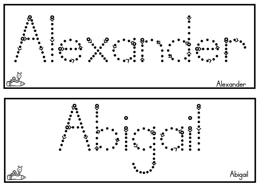 abc junior font practice your name template landscape school 16148 | Name Template