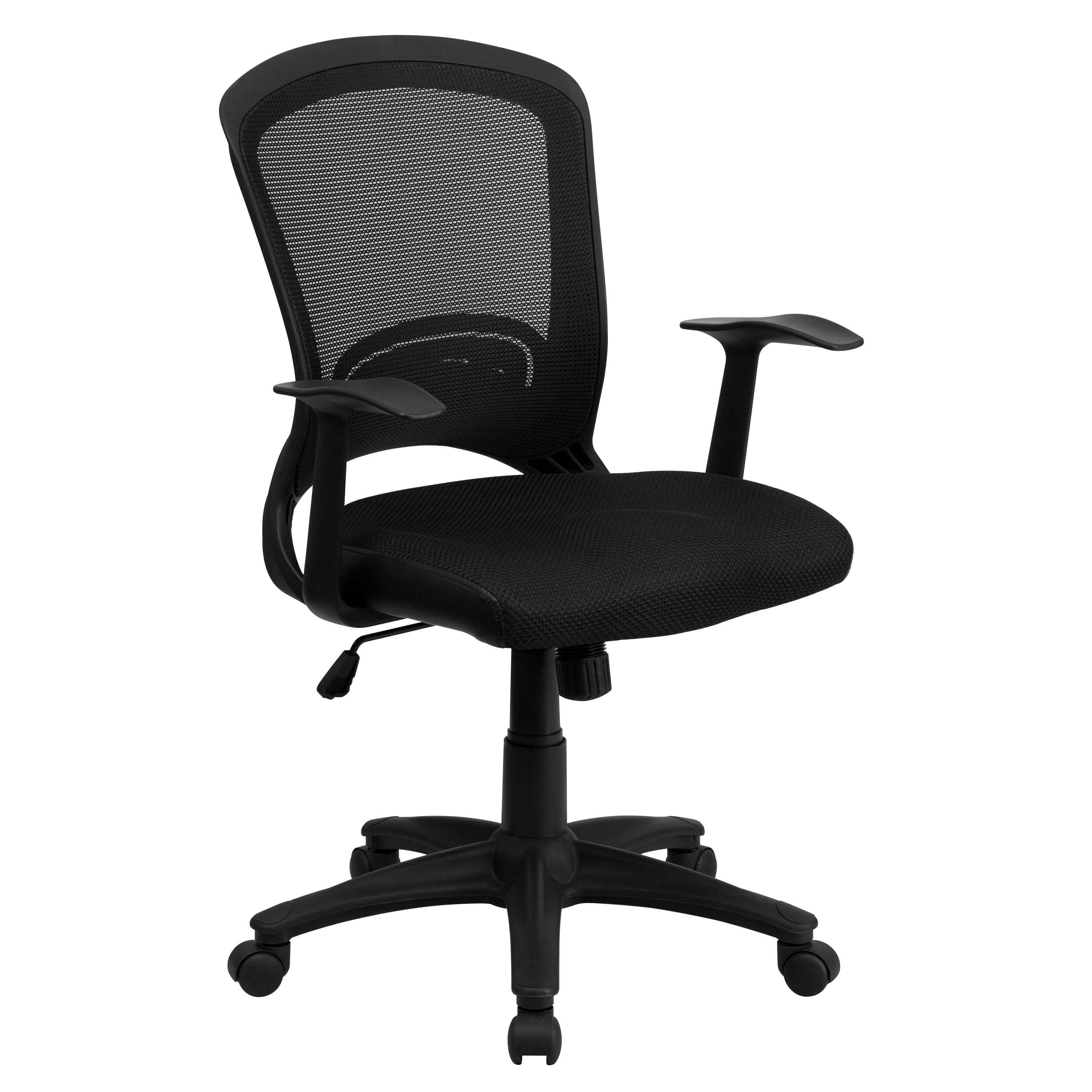 Task Chairs With Arms Mid Back Designer Black Mesh Swivel Task Office Chair With Arms