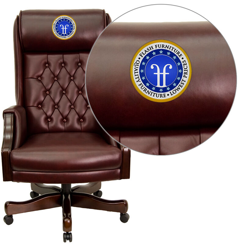 Tufted Leather Office Chair Embroidered High Back Traditional Tufted Burgundy Leather Executive Ergonomic Office Chair With Headrest And Arms