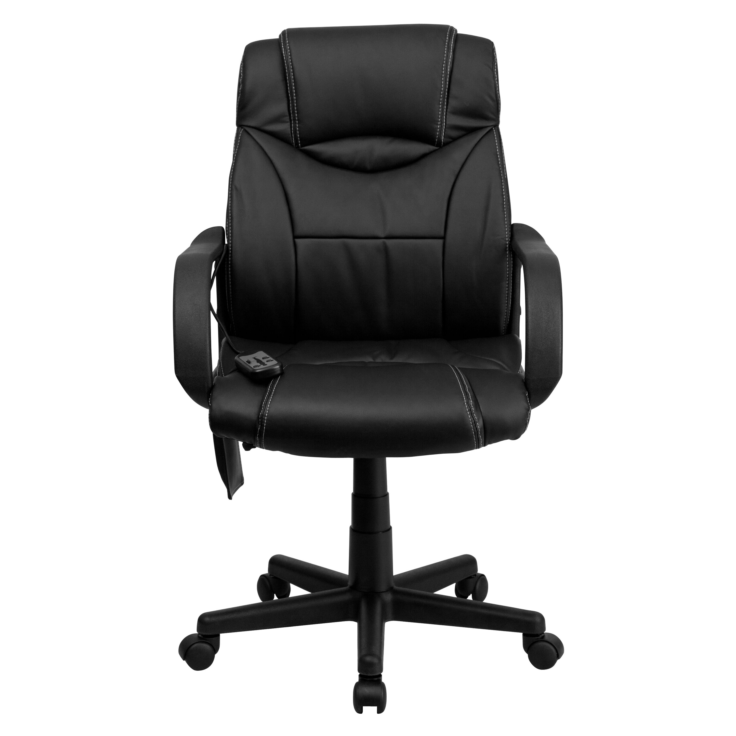 Massage Office Chair Mid Back Ergonomic Massaging Black Leather Executive Swivel Office Chair With Arms