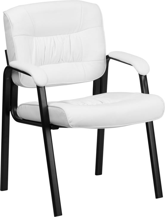 black leather reception chairs antique rocking without arms white guest chair with frame finish