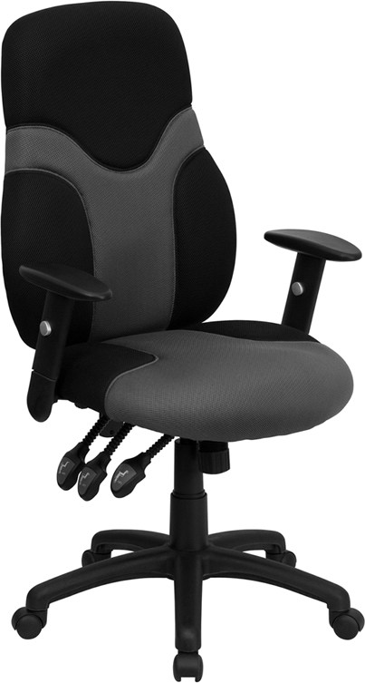 mesh task chair revolving exchange high back ergonomic black and gray with adjustable arms