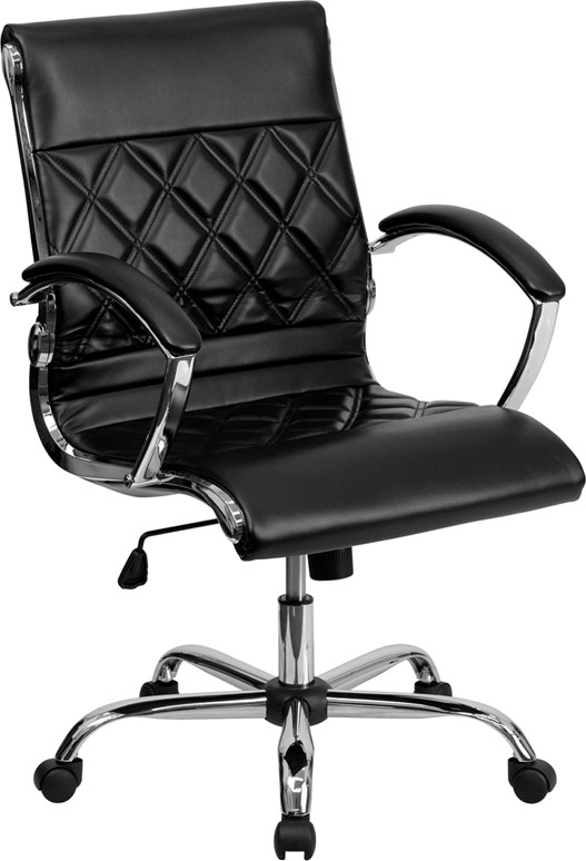 office chair leather patio chaise lounge chairs target mid back designer white executive with chrome base 4 seat options