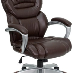 Leather Executive Office Chair Wood Kids Table And Chairs Reviews For High Back Brown With Padded Loop Arms 2 Seat Options