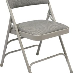 Folding Chair Fabric Coleman Chairs Nz Nps Upholstered Premium Double Brace Gray Frame 2302
