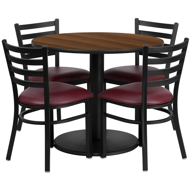 metal chairs and table patio chair cushions home depot 36 round walnut laminate set with 4 ladder back styles available