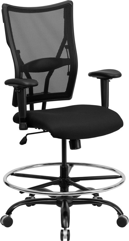 mesh drafting chair black and gold signature series 400 lb capacity big tall stool optional arms footrest