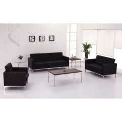 Steel Frame Sofa Cowhide Uk Signature Lacey Series Contemporary Black Leather With Stainless