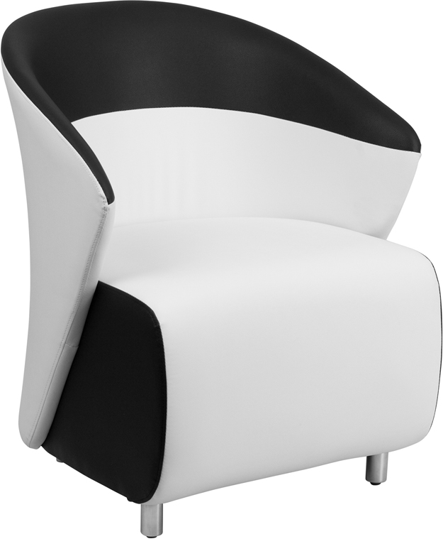 black leather reception chairs comfy pc gaming chair white with detailing
