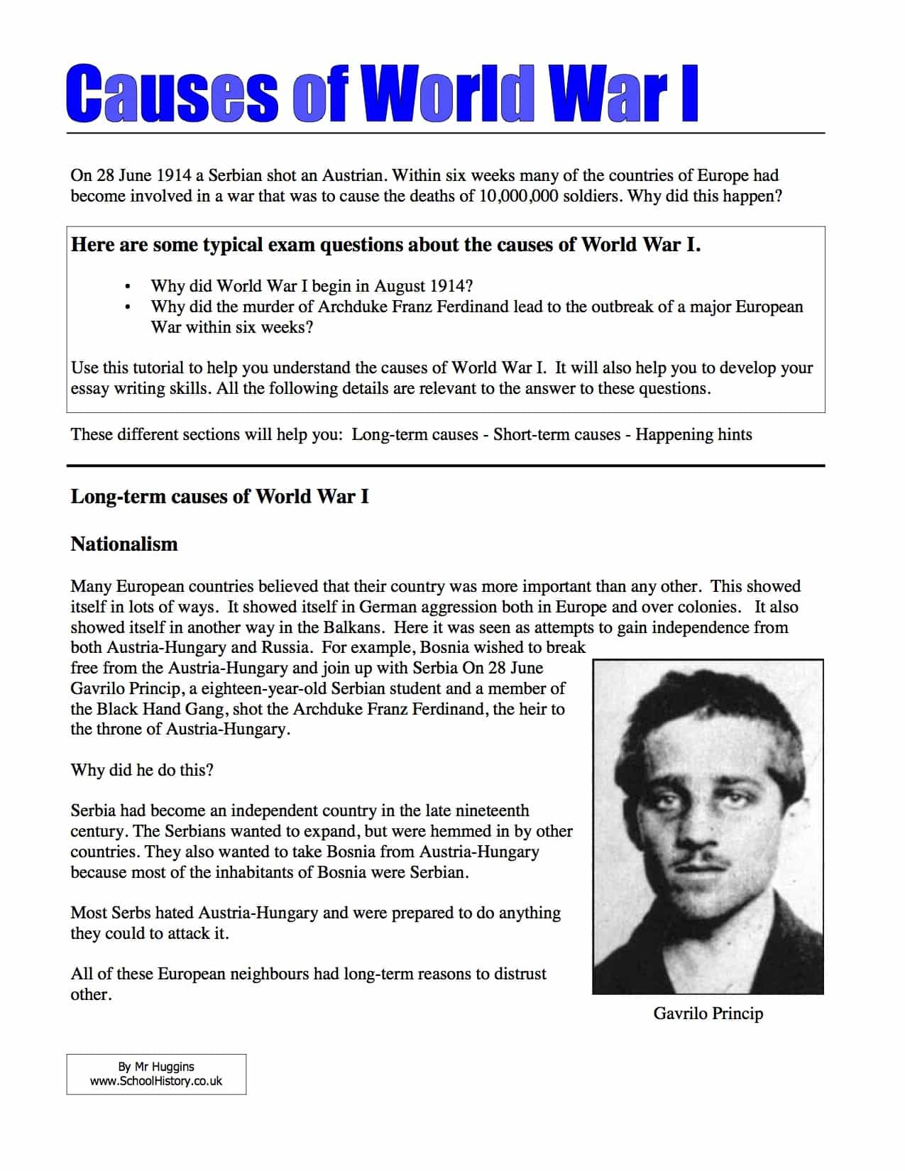 33 Causes Of World War 1 Worksheet Answers