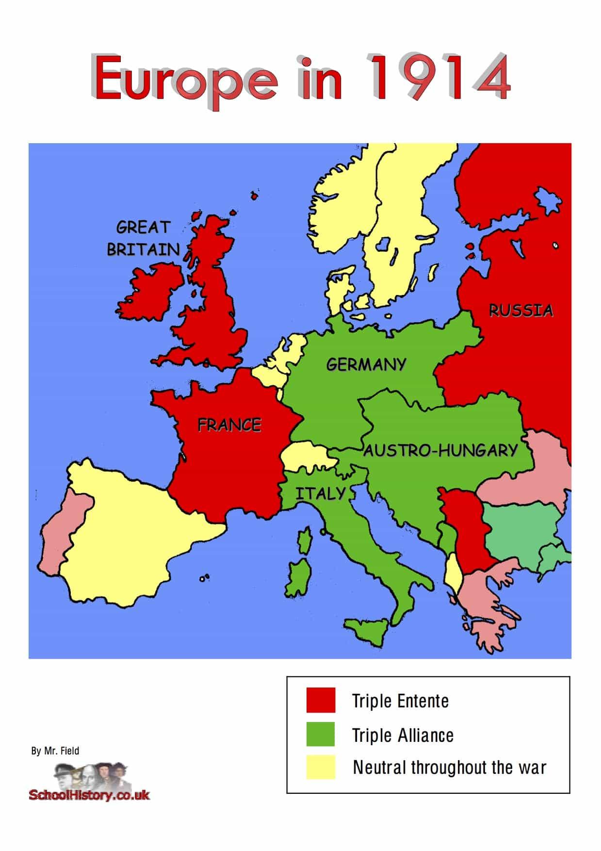 WW1 Alliances Map | GCSE Lesson Worksheet