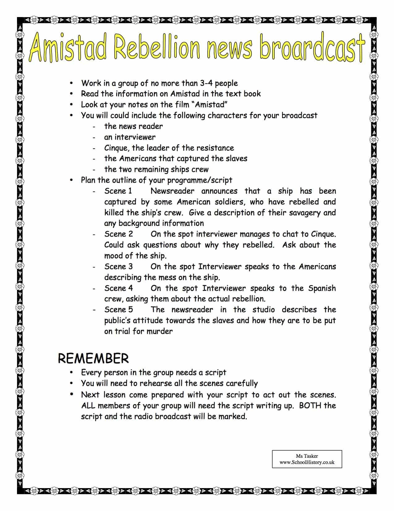 Amistad Rebellion Worksheet Amp Lesson Plan