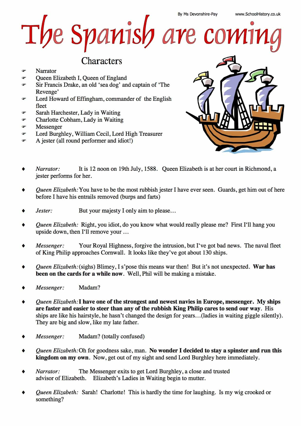 Spanish Armada Role Play Worksheet