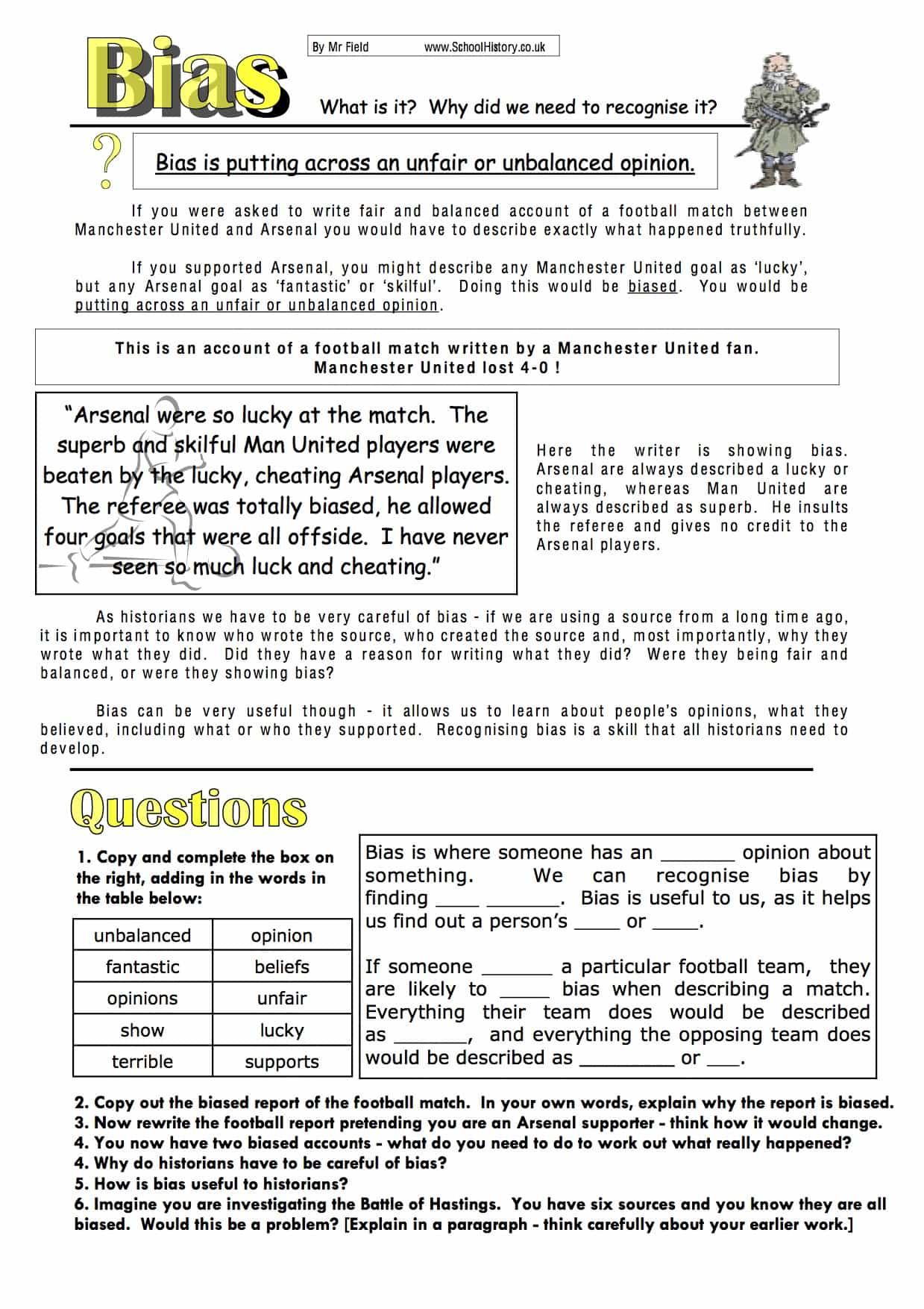 Understanding Bias Study Worksheet