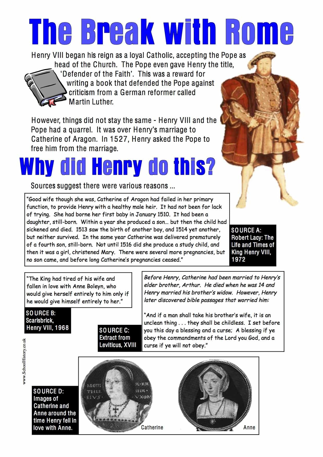 The Break With Rome Facts Worksheet